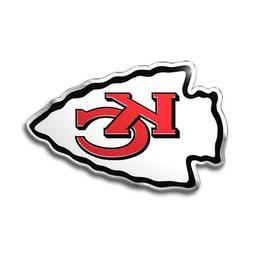 2 Pack Kansas City Chiefs Aluminum Metal Auto Emblem  NFL Ca