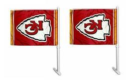2 Pack NFL Kansas City Chiefs Car Auto Flag Banner & Pole 2