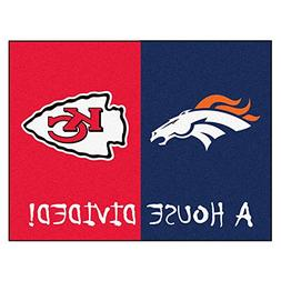 "Denver Broncos - Kansas City Chiefs House Divided Rugs 34""x4"
