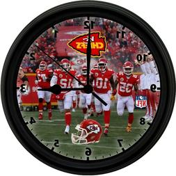 KANSAS CITY CHIEFS, 8in. Unique Homemade Wall Clock, Battery