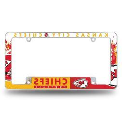 Kansas City Chiefs Chrome ALL OVER Premium License Plate Fra