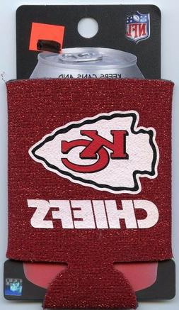 Kansas City Chiefs Red Glitter Can Cooler Keeps Cans and Bot