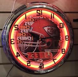 Kansas City Chiefs Red Neon Wall Clock Sign Sport Bar
