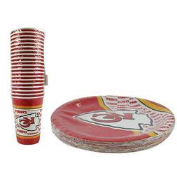 New NFL Kansas City Chiefs 40 Disposable Paper Plates Cups P