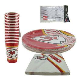 New NFL Kansas City Chiefs 80pc Paper Plates Cups Forks Napk