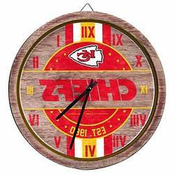 Nfl Wall Clocks wood Kansas City Chiefs Analog Painted Barre