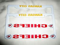 TWO  KANSAS CITY CHIEFS EMBOSSED LICENSE PLATE FRAMES #6 - N